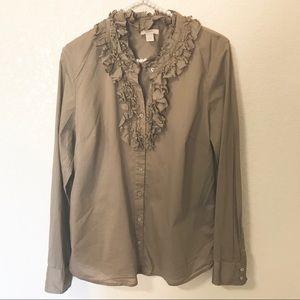 [J. Crew] Ruffle Neck Button Up Long Sleeve Top
